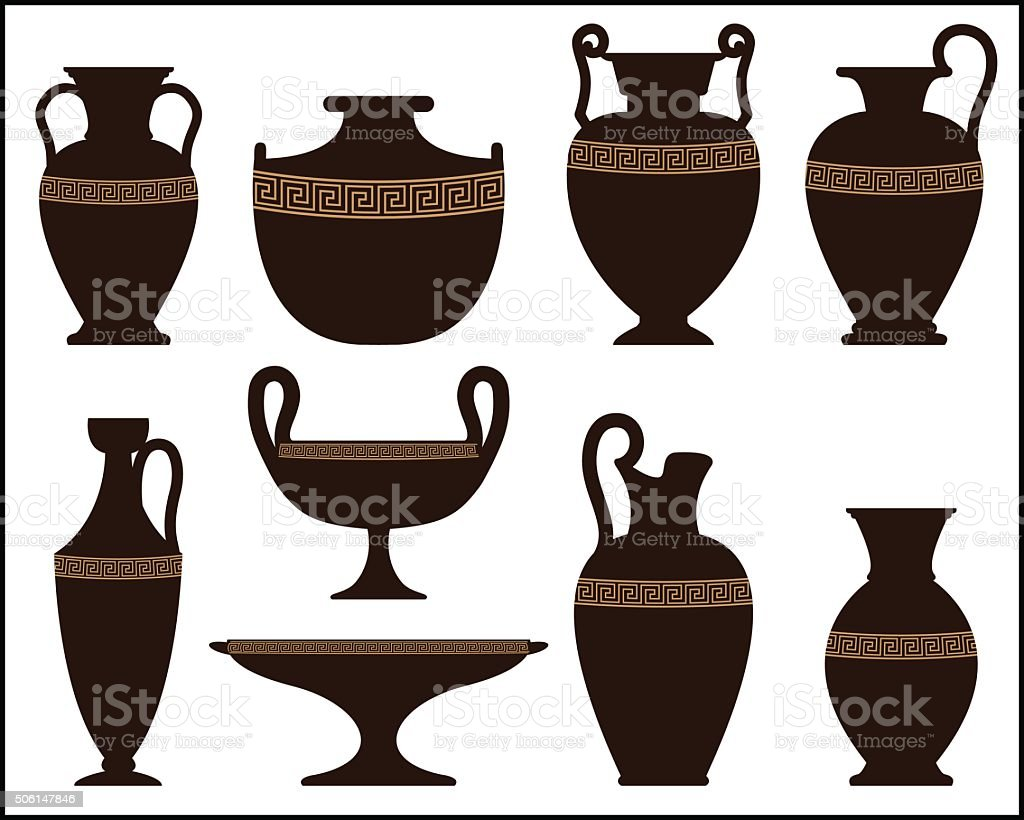 Silhouettes of ancient vases with ornament vector art illustration