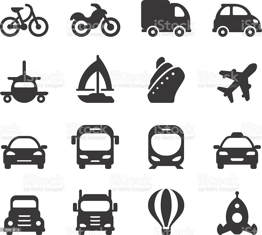 Silhouettes of assorted transportation tools vector art illustration