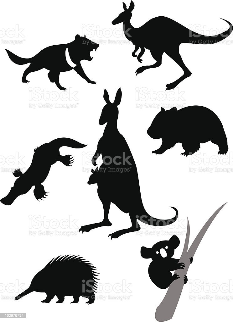 Silhouettes of australian animals vector art illustration