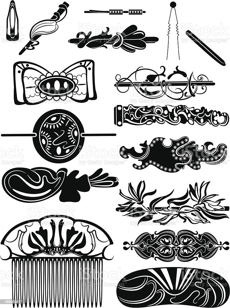 Silhouettes of barrettes royalty-free stock vector art