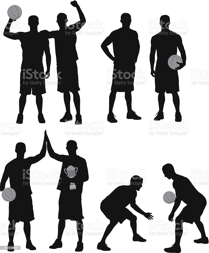 Silhouettes of basketball players vector art illustration