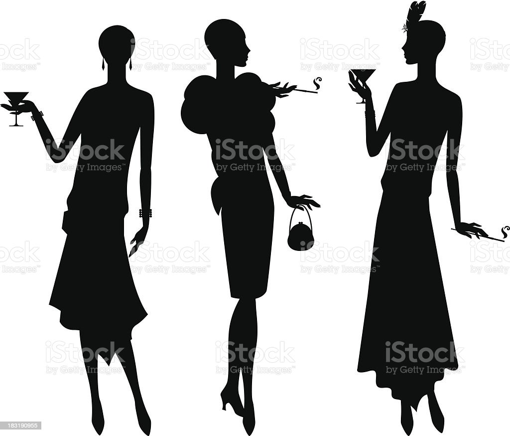Silhouettes of beautiful girl 1920s style. vector art illustration