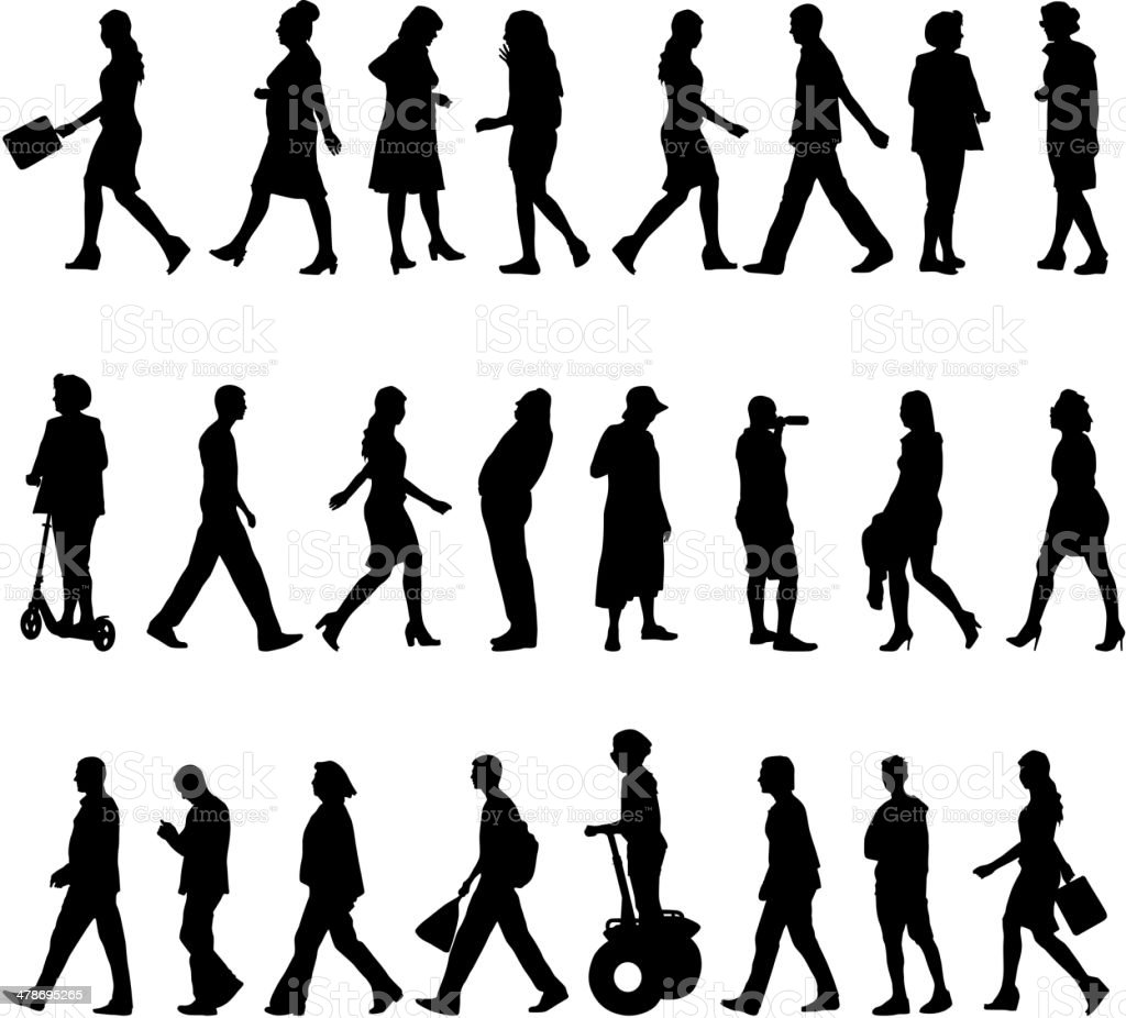 silhouettes of beautiful mans and womans vector art illustration