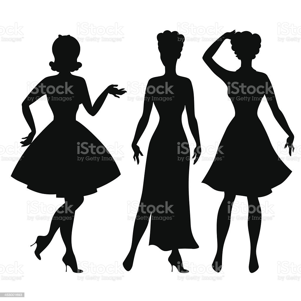 Silhouettes of beautiful pin up girls 1950s style. vector art illustration