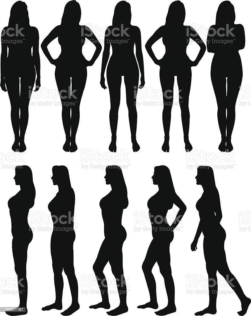Silhouettes of beautiful woman body with different poses vector art illustration