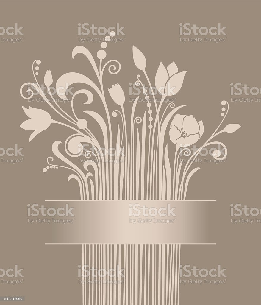 Silhouettes of beige tulips over cappuccino brown vector art illustration