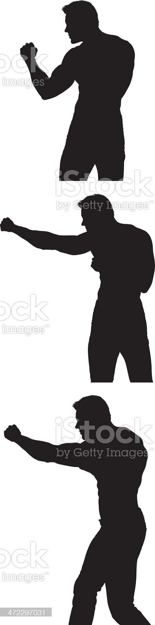 Silhouettes of boxer punching royalty-free stock vector art