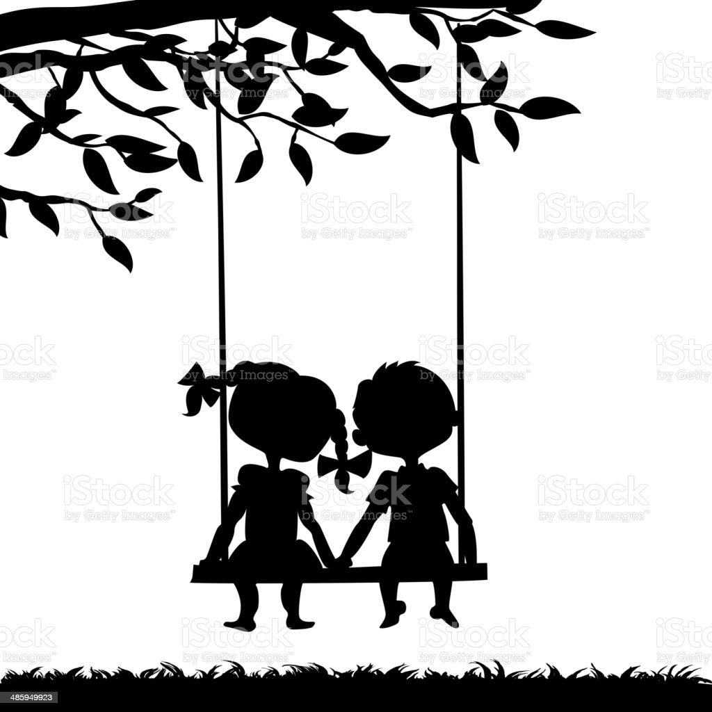 Silhouettes of boy and girl vector art illustration