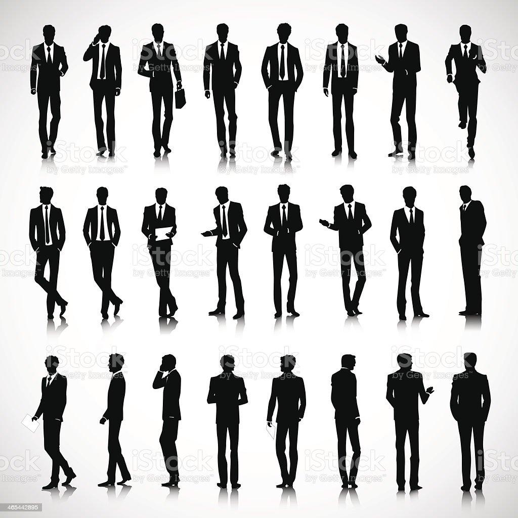 Silhouettes of business men vector art illustration