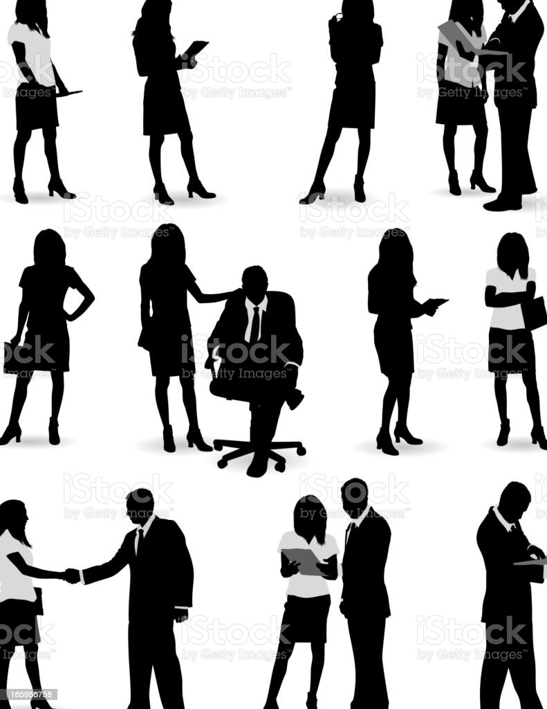 Silhouettes of business people in a variety of poses royalty-free stock vector art