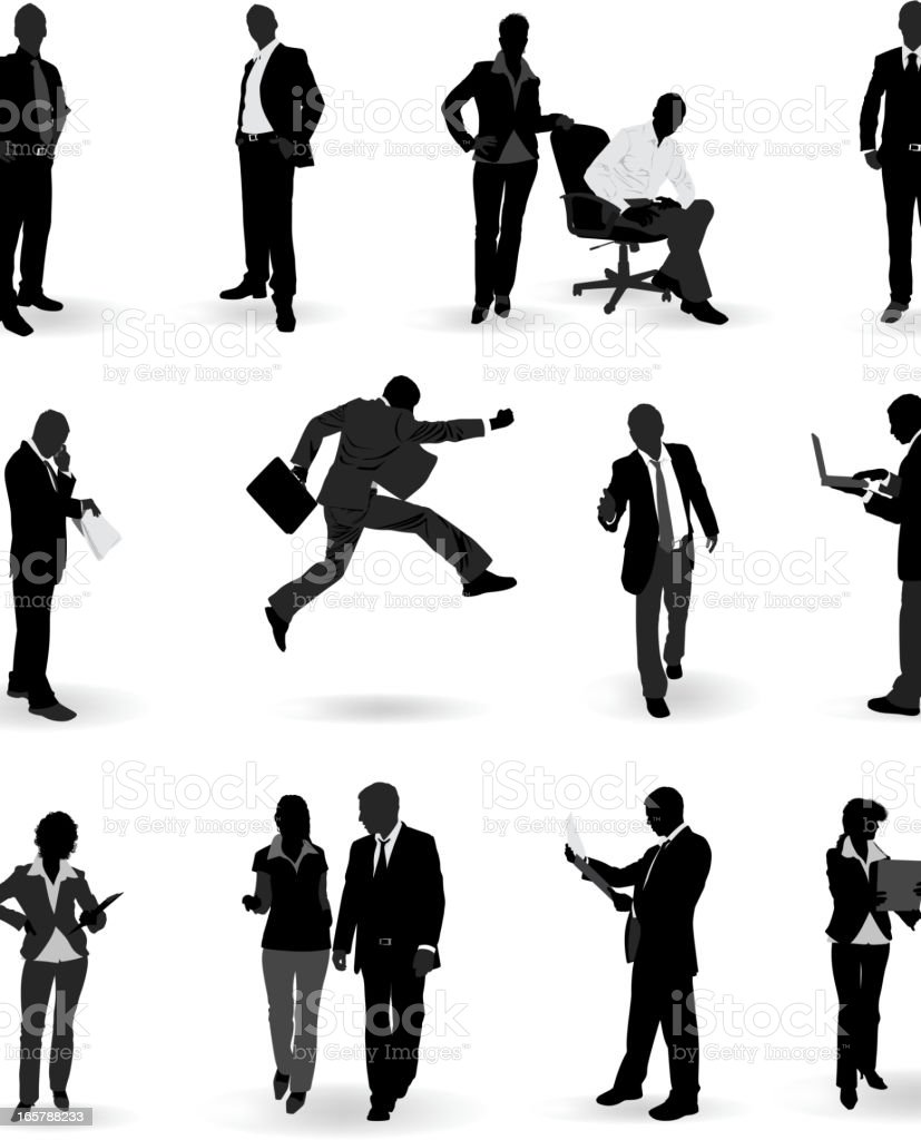 Silhouettes of business people royalty-free stock vector art