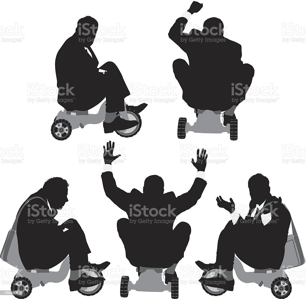 Silhouettes of businessmen riding a tricycle royalty-free stock vector art