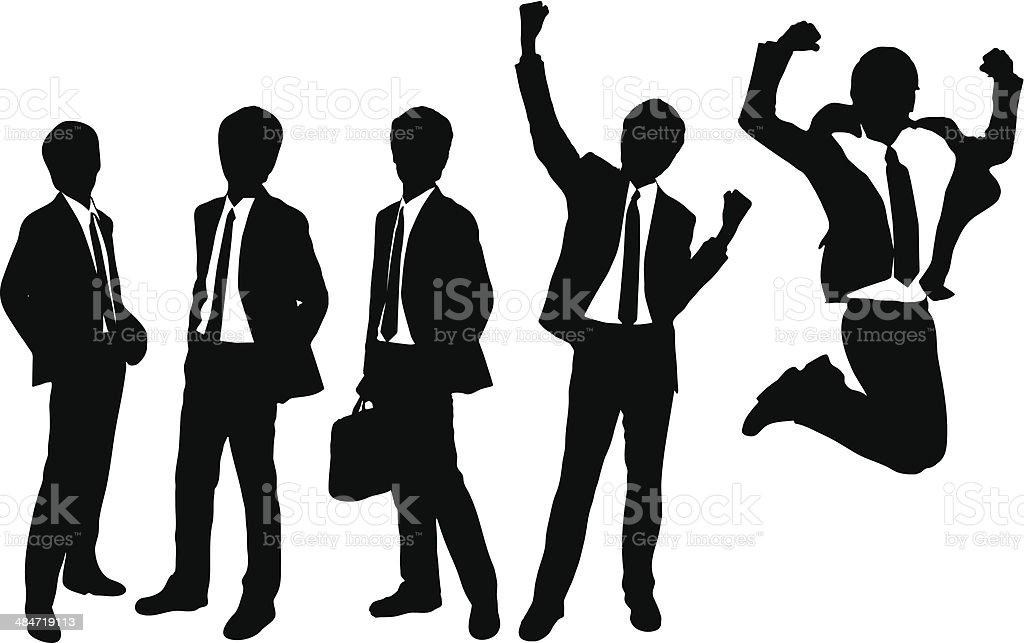 Silhouettes of Businessmen vector art illustration