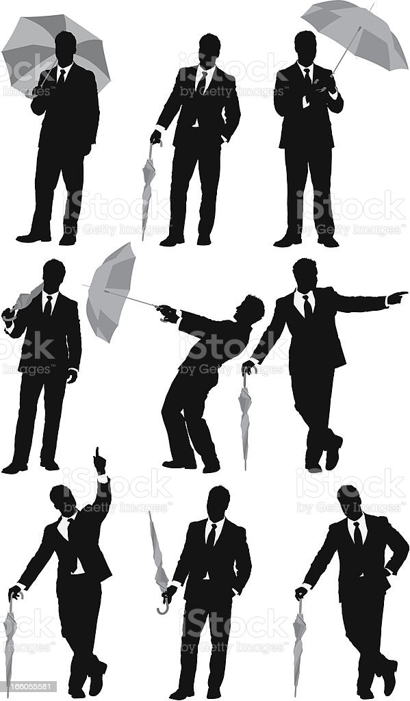 Silhouettes of businessmen with an umbrella royalty-free stock vector art