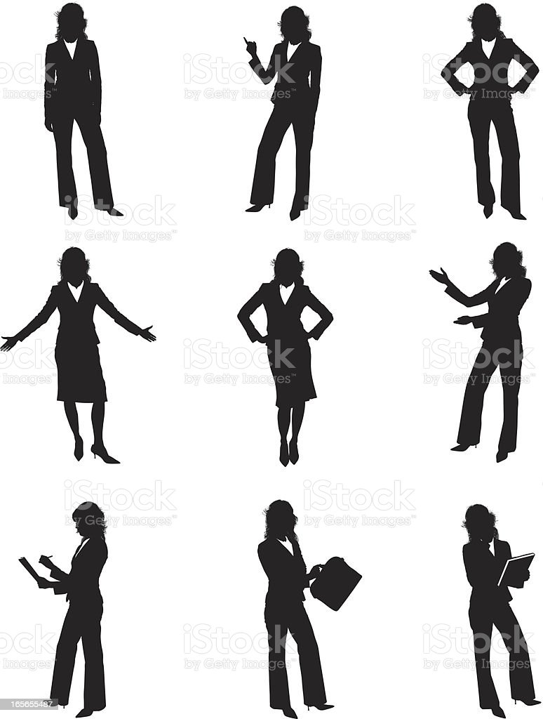 Silhouettes of businesswomen vector art illustration