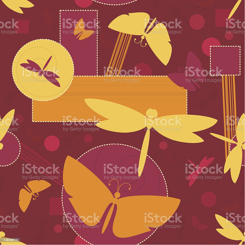 Silhouettes of butterflies and dragonflies. Seamless vector pattern royalty-free stock vector art