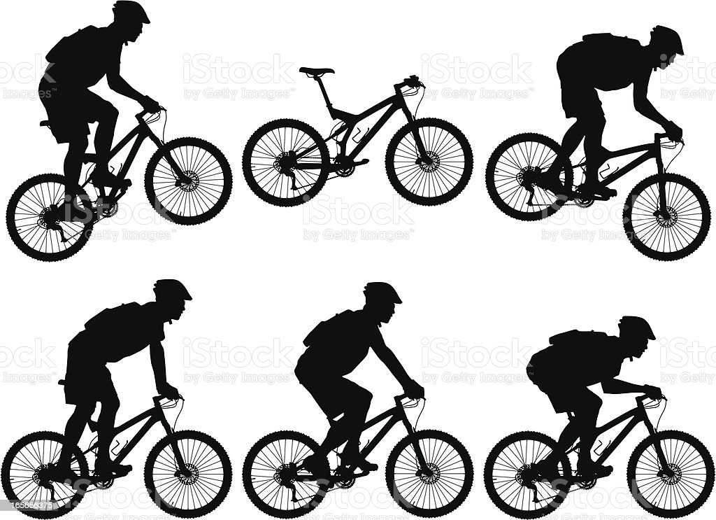 Silhouettes of carbon fiber full suspension mountain bike with cyclists royalty-free stock vector art