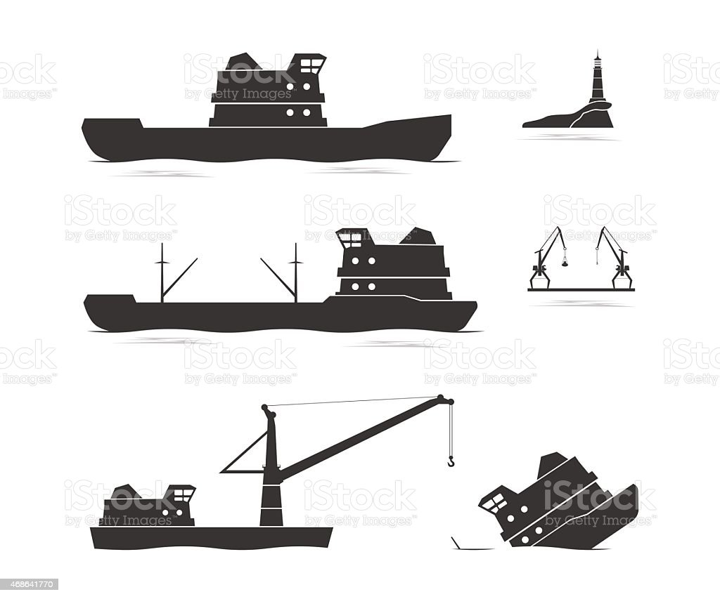 Silhouettes of cargo ships and floating crane vector art illustration