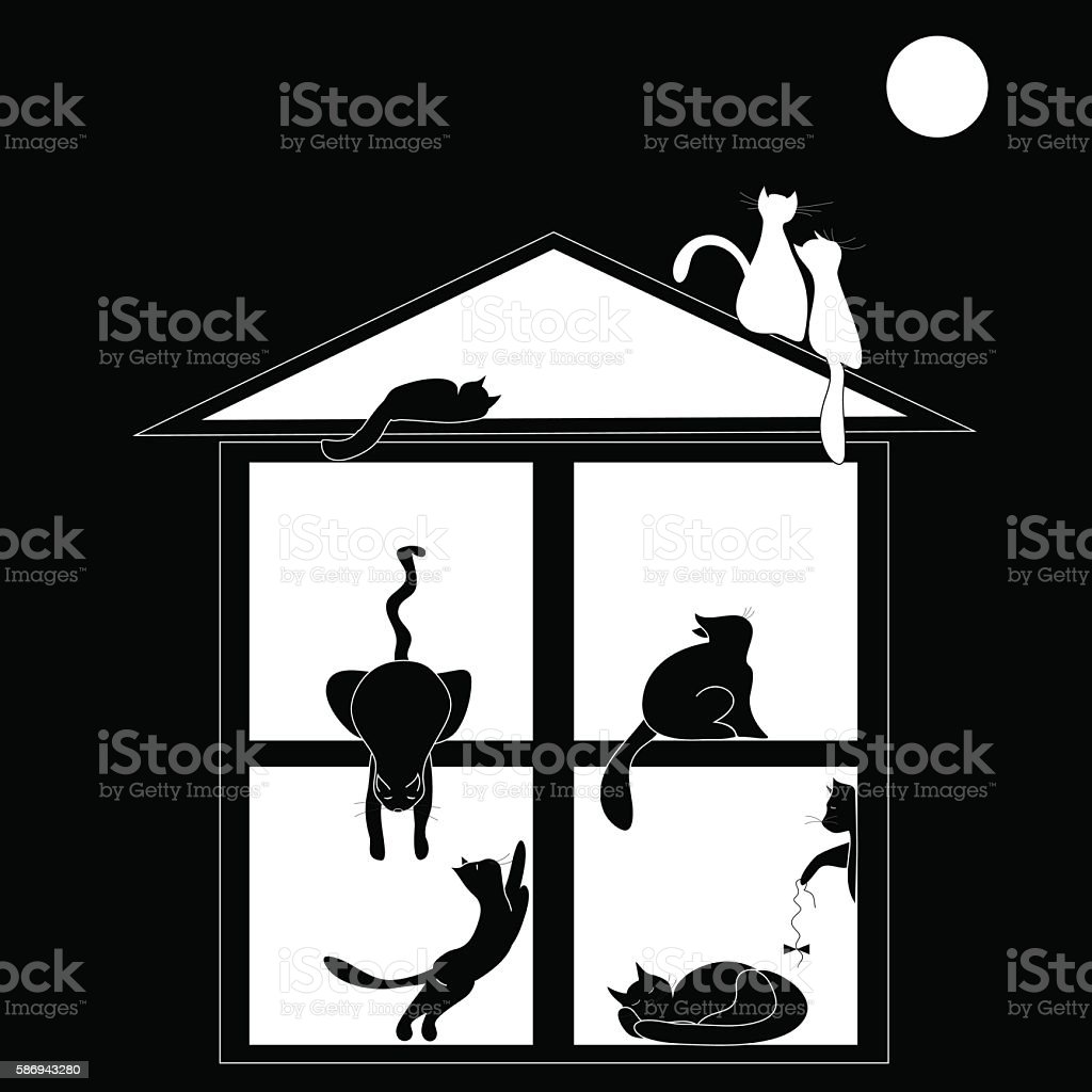 Silhouettes of cats in the house on black background royalty-free stock vector art