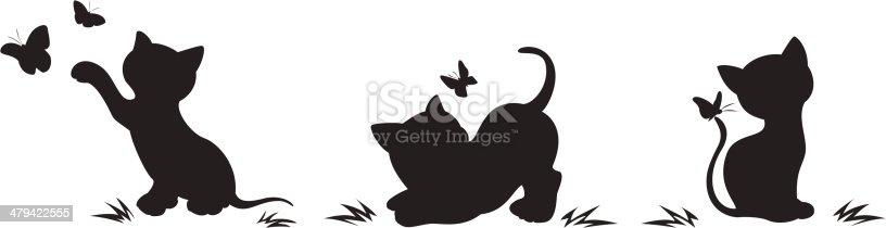 кот ловит бабочек нарисованный