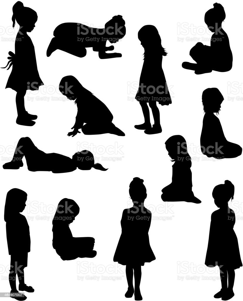 Silhouettes of children in different poses vector art illustration