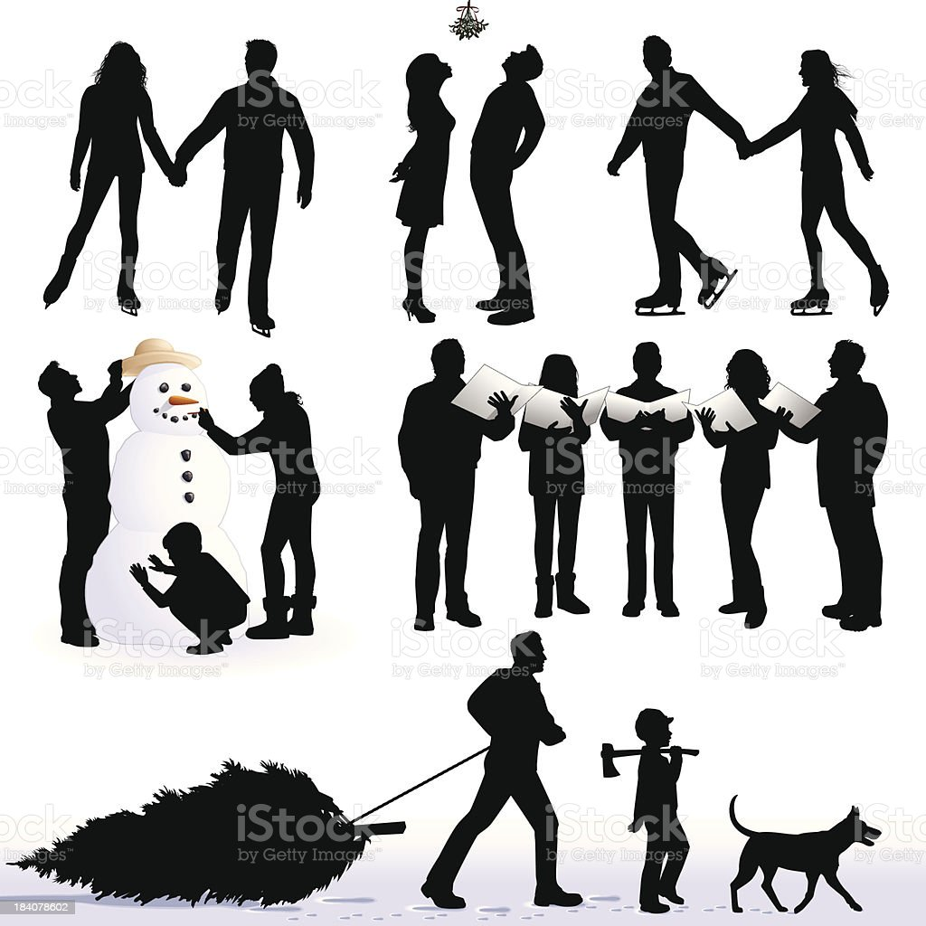 Silhouettes of Christmas activities  vector art illustration