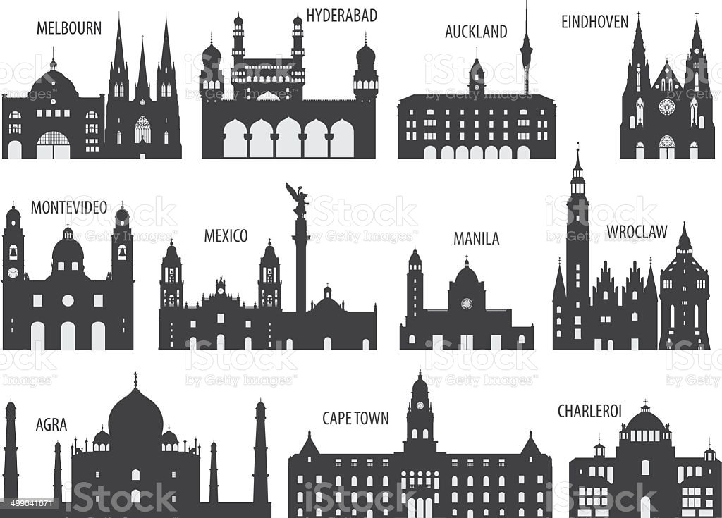 Silhouettes of cities vector art illustration