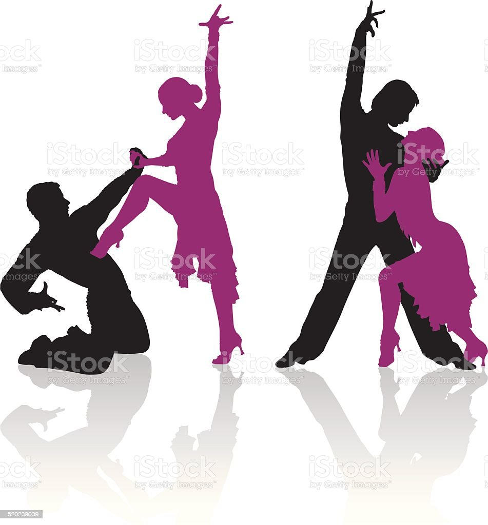 Silhouettes of couple dancing ballroom dance vector art illustration