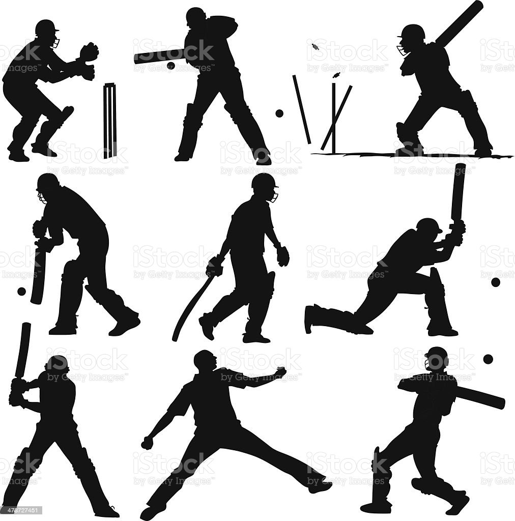 Silhouettes of Cricket Players vector art illustration