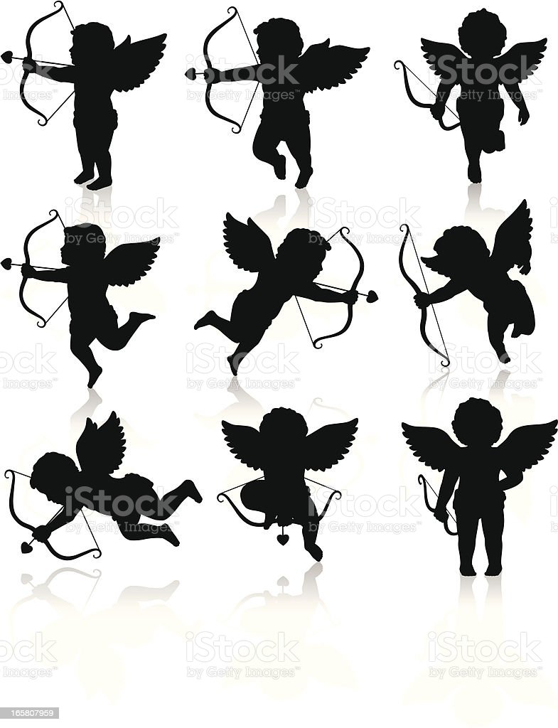 Silhouettes of Cupid vector art illustration