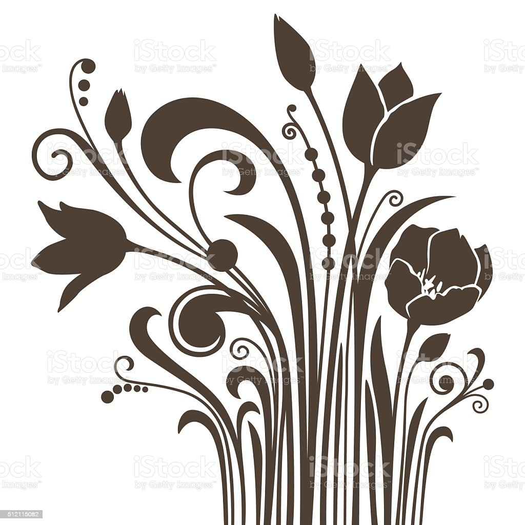 Silhouettes of dark-brown tulips isolated on white vector art illustration