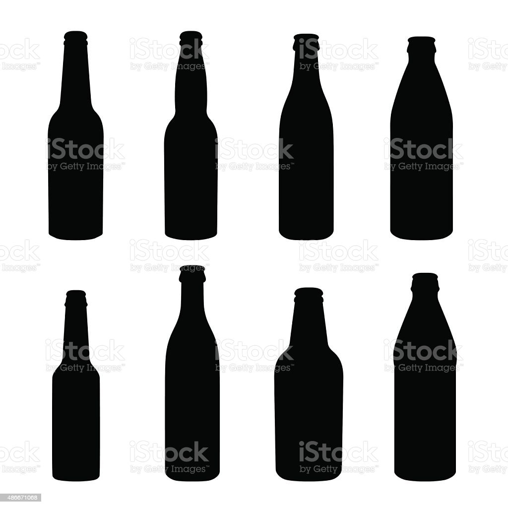 Silhouettes of different alcohol bottles vector art illustration