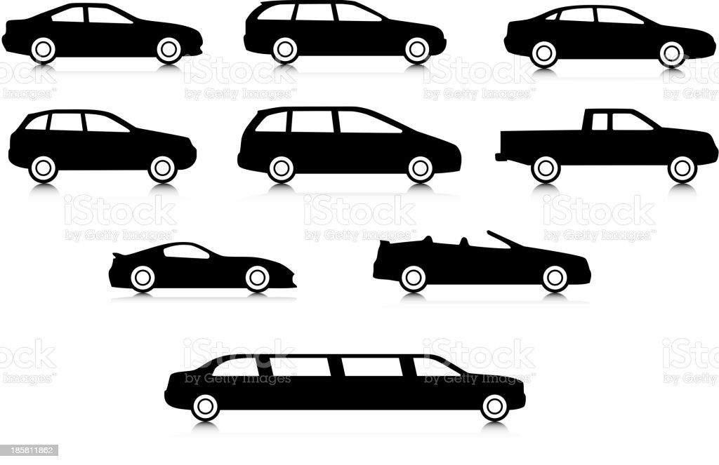Silhouettes of different body car types royalty-free stock vector art