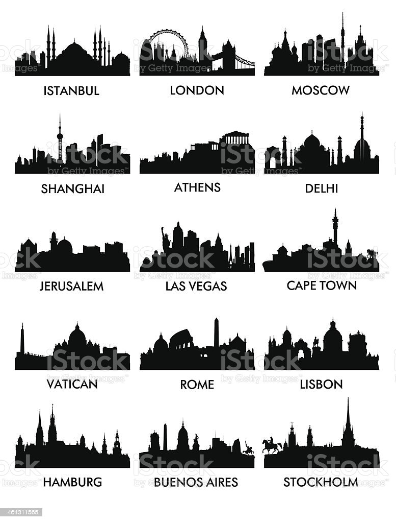 Silhouettes of different cities with names vector art illustration