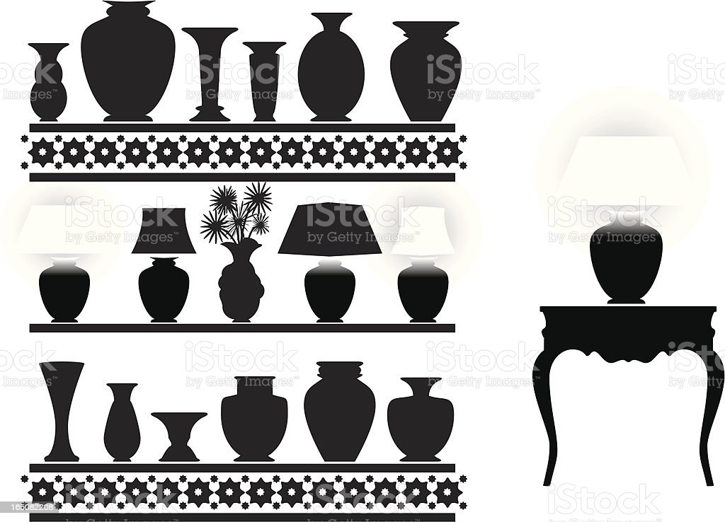 Silhouettes of different vases on shelfs and desk vector art illustration