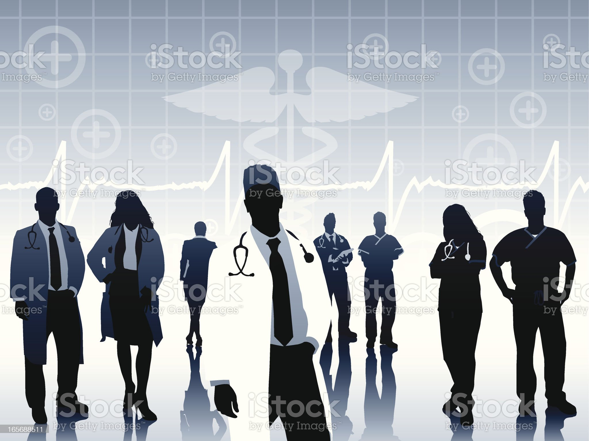Silhouettes of Doctor on medical themed background royalty-free stock vector art