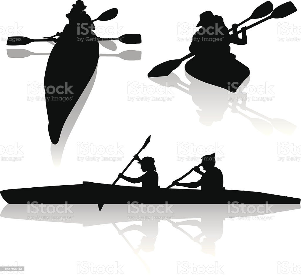 Silhouettes of double kayakers kayaking vector art illustration