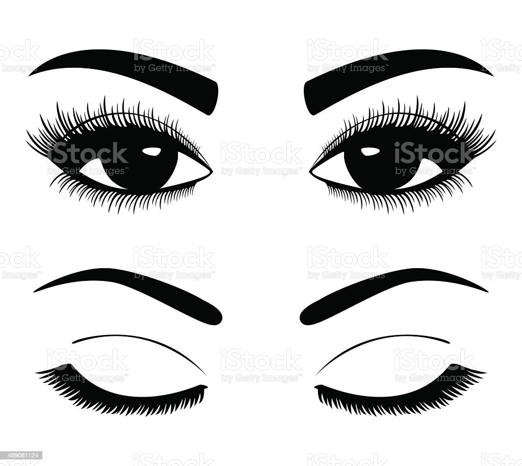 silhouettes of eyebrows and eyes vector art illustration