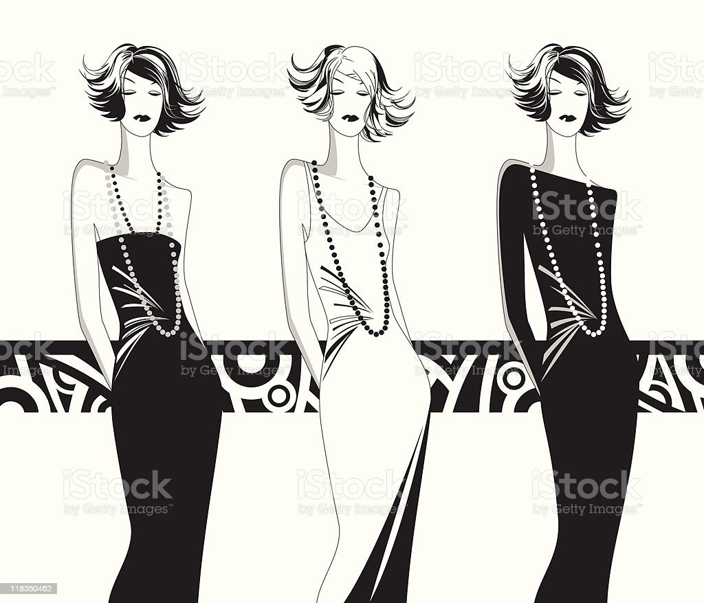 silhouettes of fashionable womens royalty-free stock vector art