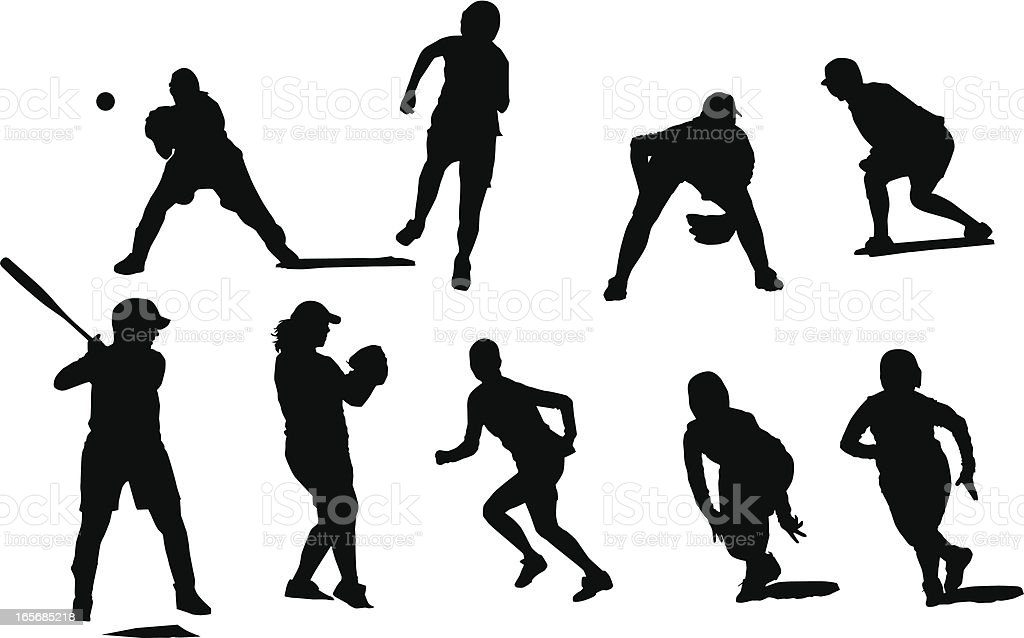 Silhouettes of female fastball players in different positions playing baseball. royalty-free stock vector art