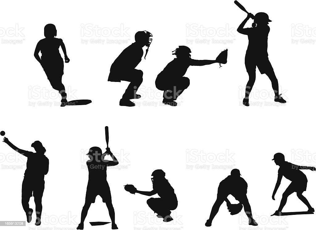 Silhouettes of female fastball players in different positions playing baseball. vector art illustration