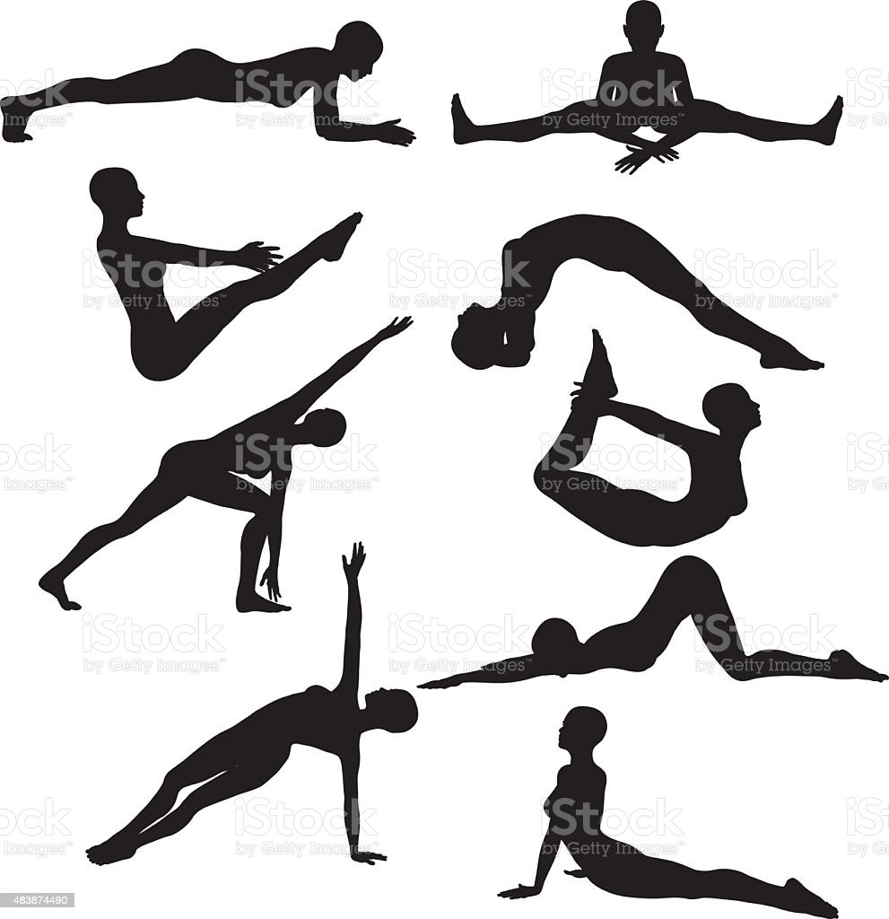 Silhouettes of females in yoga poses vector art illustration