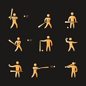 Silhouettes of figures baseball player icons set.