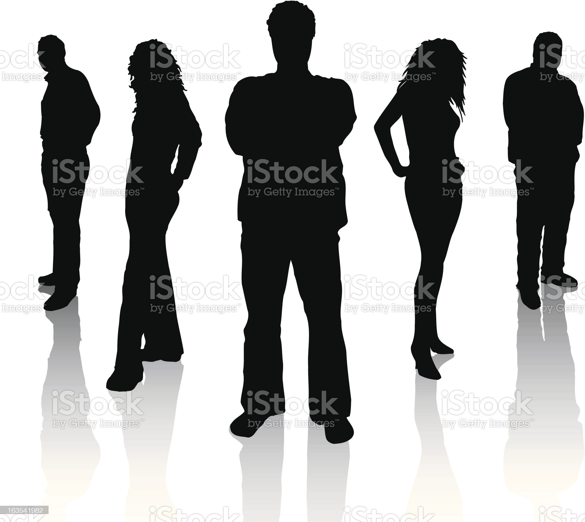 Silhouettes of five people on white background royalty-free stock vector art