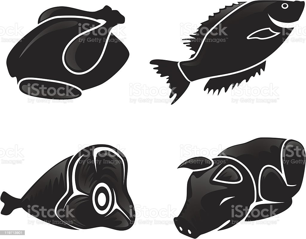 Silhouettes of food royalty-free stock vector art
