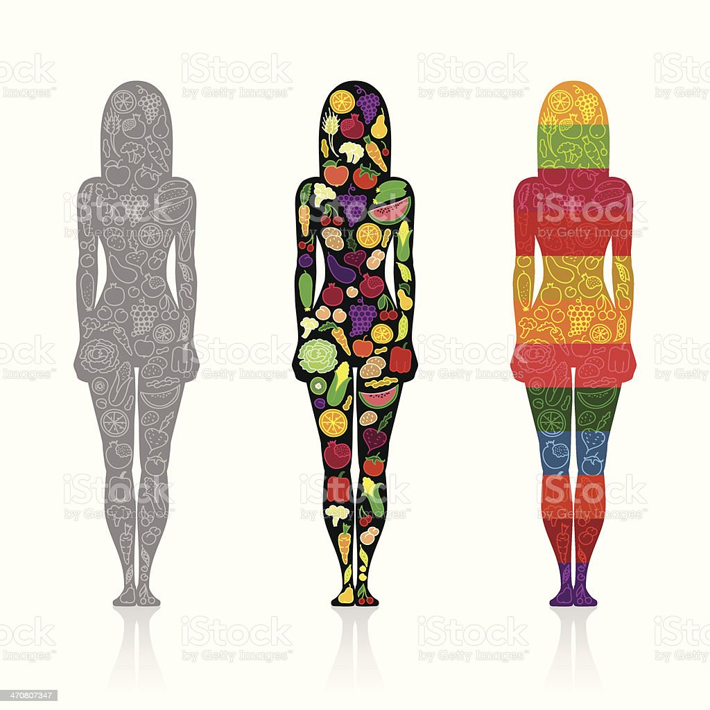 Silhouettes of girls with fruits and vegetables vector art illustration