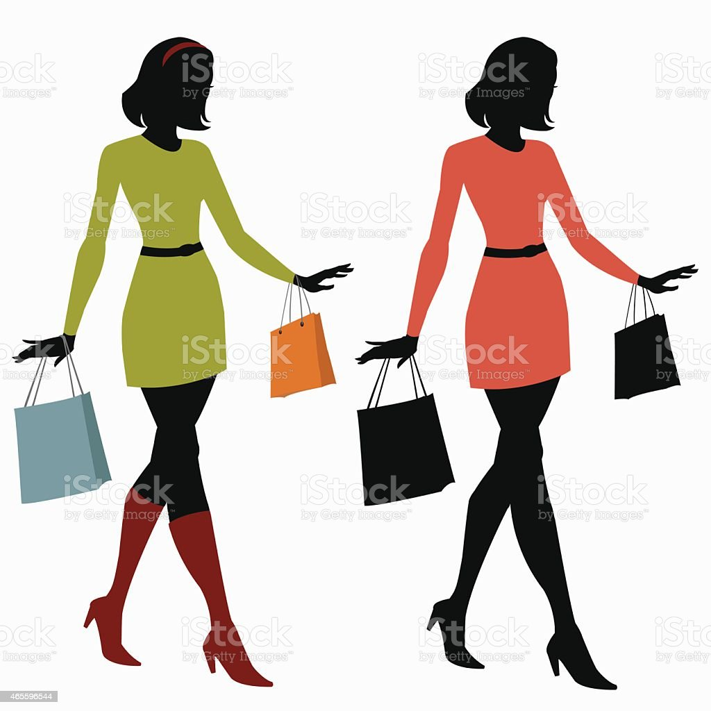 silhouettes of girls with shopping bags royalty-free stock vector art