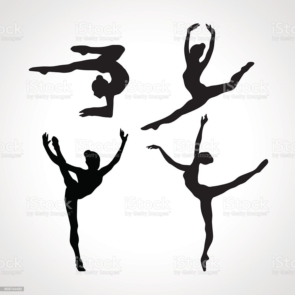 Silhouettes of gymnastic girls. Art gymnastics vector set vector art illustration