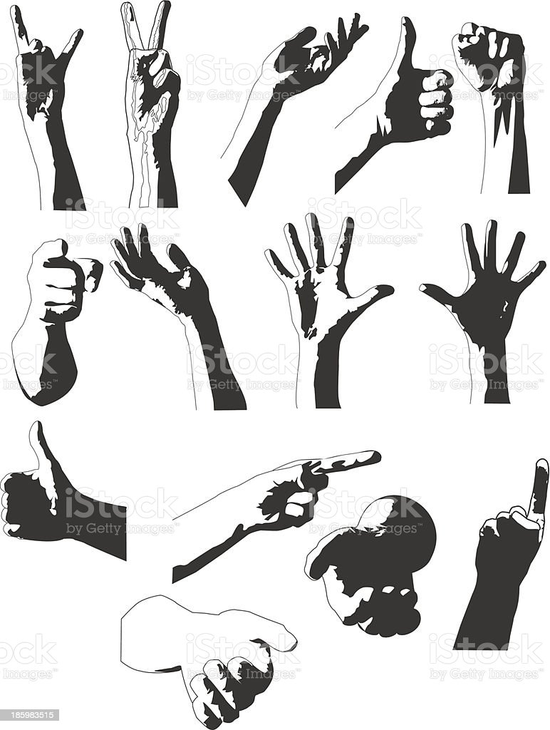 Silhouettes of hands royalty-free stock vector art