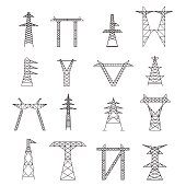 Silhouettes of High Voltage Electric Post Icon Set. Vector